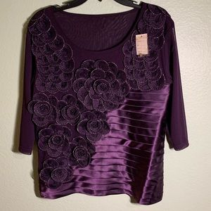 Holiday Dress Shirt Purple with Beautiful Flowers